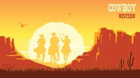 Los vaqueros siluetean caballos de montar a caballo en la puesta del sol Paisaje de la pradera del vector con el sol y el barranc libre illustration