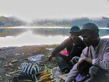 Los vendedores ambulantes asaron maíz imagen de archivo