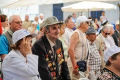 Los veteranos de la Segunda Guerra Mundial en la celebración del 9na pueden Fotos de archivo