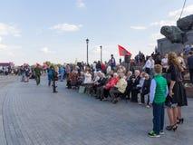 Los veteranos en Victory Park en la colina de Poklonnaya Foto de archivo libre de regalías