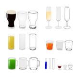 Los vidrios con las bebidas y vacian Fotos de archivo libres de regalías