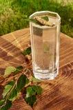 Los vidrios de jugo de la savia del abedul beben ramas del abedul en la nutrición útil de la tabla del fondo de la primavera sana Fotografía de archivo libre de regalías