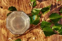 Los vidrios de jugo de la savia del abedul beben ramas del abedul en la nutrición útil de la tabla del fondo de la primavera sana Fotografía de archivo