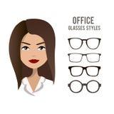 Los vidrios de la oficina diseñan la plantilla con un diseño de carácter de la mujer de la oficina Imagenes de archivo