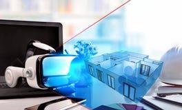 Los vidrios de la realidad virtual en oficina del decorador presentan la representación fotografía de archivo libre de regalías