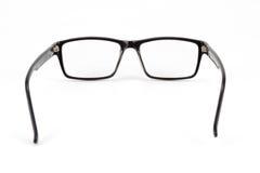 Los vidrios del ojo morado miran un estilo del empollón del pedazo aislados en blanco Foto de archivo