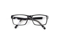 Los vidrios del ojo morado miran un estilo del empollón del pedazo aislados en blanco Imagenes de archivo