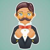 Los vidrios victorianos de Character Mascot Gold del hombre de negocios del caballero corrigen el vintage retro del fondo elegant ilustración del vector
