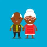 Los viejos pares negros felices que llevan a cabo las manos, vector el ejemplo aislado historieta plana del carácter Abuela del A Imagen de archivo libre de regalías