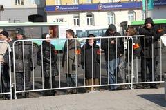Los vigilantes en el cordón alrededor de la oposición se reúnen Foto de archivo libre de regalías