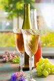 Los vinos fríos del verano, blanco y subieron, servido en los vidrios hermosos o Foto de archivo libre de regalías