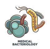 Los virus y las bacterias vector el icono para la ciencia de la bacteriología y atención sanitaria o biología médica stock de ilustración