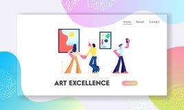 Los visitantes de la exposición ven pinturas abstractas modernas en Art Gallery contemporáneo Ilustraciones u objetos expuestos d libre illustration
