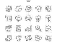 Los votos Bien-hicieron la línea fina rejilla 2x de los iconos 30 del vector a mano perfecto del pixel para los gráficos y Apps d Imagen de archivo libre de regalías