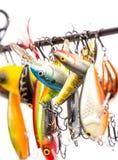 Los wobblers coloreados del cebo de pesca se suspendan en espacio en blanco del ` s de la barra Foto de archivo
