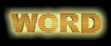 Los word's anaranjados del color del resplandor 3D de Yellow's mandan un SMS compuesto de las letras w O r d En fondo negro stock de ilustración