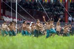 Los wresters jovenes entran en la arena lista para la batalla en el festival de lucha de Oi del turco de Kirkpinar en Edirne en T Imagenes de archivo