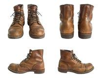Los zapatos de cuero de los hombres aislados en el fondo blanco Trayectoria de recortes Fotografía de archivo libre de regalías