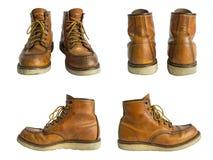 Los zapatos de cuero de los hombres aislados en el fondo blanco Trayectoria de recortes Fotografía de archivo