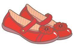 Los zapatos de las muchachas rojas Imágenes de archivo libres de regalías
