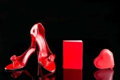 Los zapatos de tacón alto, el cuaderno y el monedero de las mujeres para Fotos de archivo libres de regalías