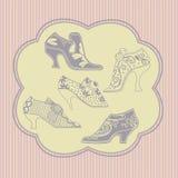 Los zapatos del vintage mujer stock de ilustración