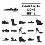 Los zapatos fijaron iconos en estilo negro La colección grande calza el ejemplo de la acción del símbolo del vector libre illustration