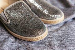 Los zapatos grises de la muchacha de la moda Foto de archivo