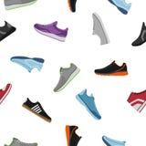 Los zapatos modelan en el fondo blanco Zapatillas de deporte de Sportwear, ropa diaria del calzado en estilo plano Keds del cielo ilustración del vector