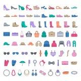 Los zapatos y los accesorios colorearon iconos Alinee los zapatos de los iconos, bolsos, sombreros, joyería, vidrios libre illustration