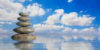 Los ZENES Stone apilan en fondo azul ilustración 3D Foto de archivo libre de regalías