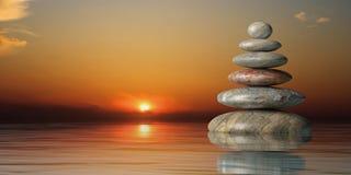 Los ZENES Stone apilan en la puesta del sol ilustración 3D Foto de archivo