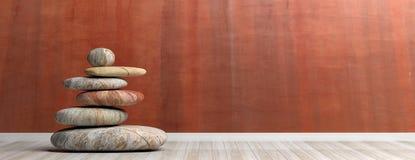 Los ZENES Stone apilan en un cuarto ilustración 3D Foto de archivo