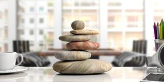 Los ZENES Stone apilan en un escritorio, fondo de la oficina ilustración 3D Imágenes de archivo libres de regalías