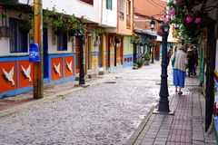 GUATAPE, ANTIOQUIA, COLOMBIA, AUGUST 08, 2018: Typically colourful buildings in Guatape royalty free stock photos