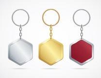 Losange réglé réaliste de Keychains en métal et de plastique Vecteur Image stock