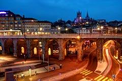 Losanna del centro, Svizzera Fotografia Stock Libera da Diritti