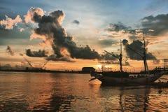 Losari海滩,望加锡南部苏拉威西岛,印度尼西亚 免版税库存图片
