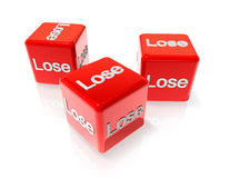 Lose red dices. Three 3D red dices with lose text on all sides Stock Photography