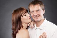 Сlose-up  portrait of beautiful loving couple Royalty Free Stock Photo