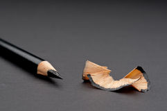 Lose up of a sharpened black pencil Stock Photos