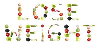 Lose weight. Words made of different type of vegetables Stock Photography