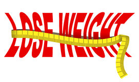 Lose weight. Text lose weight with tape measure, isolated over white Stock Image