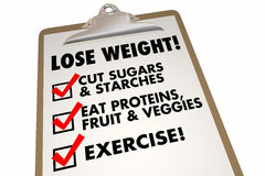 Lose Weight Checklist Clipboard Eat Exercise Words Royalty Free Stock Image