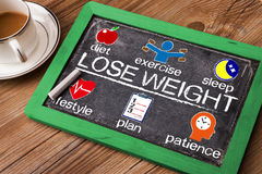 Lose weight concept diagram with related elements. On blackboard Stock Photo