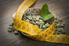 Lose weight by green coffee Royalty Free Stock Images