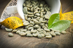 Lose weight by green coffee Royalty Free Stock Photography