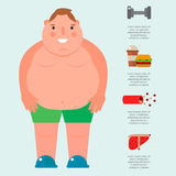 Lose weight by jogging infographic elements and health care concept flat vector illustration Stock Photos
