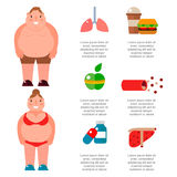 Lose weight by jogging infographic elements and health care concept flat vector illustration Stock Image