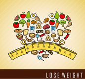 Lose weight. Over cream background  vector illustration Stock Image